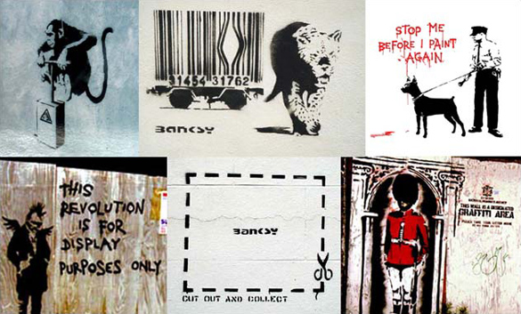 stencil art by Banksy before 2002