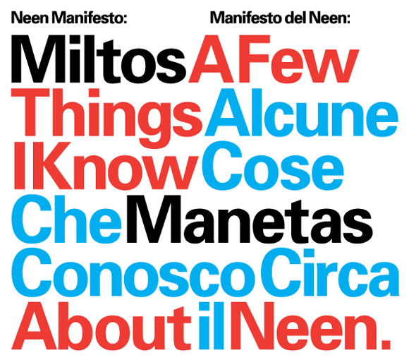 """""""A Few Things I Know About NEEN / Miltos Manetas"""" designed by Experimental Jetset"""