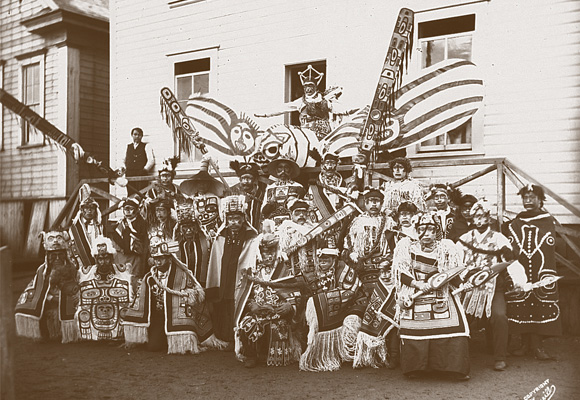 Photo of Tlingit clan members from Angoon, Aalaska at a potlatch in Sitka in 1904
