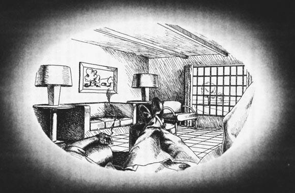 """エルンスト・マッハによって描かれたセルフポートレイト。または左眼から見た""""Inner Perspective""""。ギブソンはこれを「視覚的自己(Visual Ego)」と呼び、自己の身体が「環境」の一部であることを示した。"""
